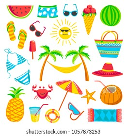 Summer travel or holiday vacation vector bright icons
