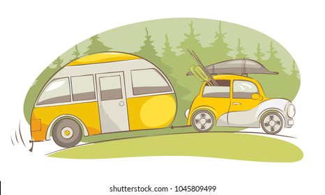 Summer travel in a house on wheels / Funny yellow retro car with camping truck ride on a fishing, vector illustration