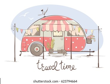 Summer travel in a house on wheels / Funny pink retro trailer, vector illustration