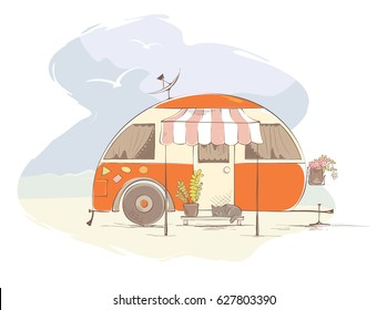 Summer travel in a house on wheels / Funny orange retro trailer on the beach, vector illustration