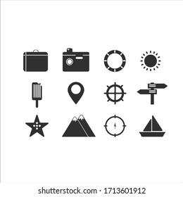 Summer travel icon set vector