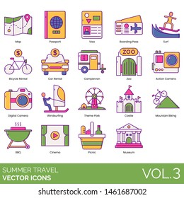 Summer travel icons including map, passport, visa, boarding pass, surf, bicycle rental, campervan, zoo, action camera, digital, windsurfing, theme park, castle, mountain biking, BBQ, cinema, picnic.