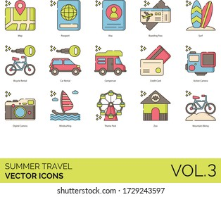 Summer travel icons including map, passport, visa, boarding pass, surf, bicycle rental, car, campervan, credit card, action camera, digital, windsurfing, theme park, zoo, mountain biking.