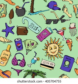 Summer travel icons set