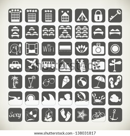 Summer Travel Icons Signs Symbols Related Stock Vector Royalty Free
