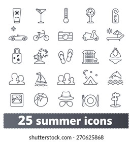Summer travel icons: vector set of vacation, tourism and transport signs. Outline series.