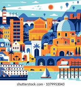 Summer travel island landscape inspired by Cagliari, Sardinia. Abstract sea mediterranean town poster with beach town, cruise ship and lighthouse. Romantic seaside coast italian city concept print.