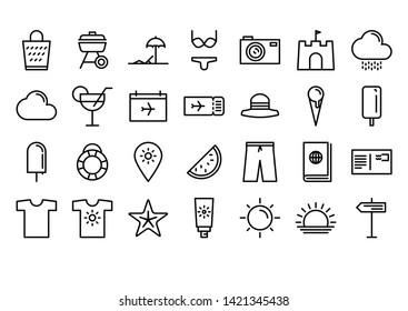 Summer & Travel  Line Icon Set