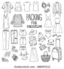 Summer travel luggage. Packing for vacation. Woman clothing set. Vector hand-drown objects illustrations. Black and white fashion collection.