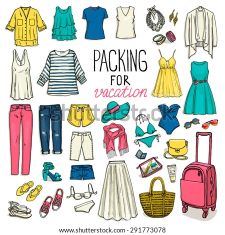 summer travel luggage packing vacation woman stock vector royalty