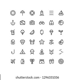 Summer & Travel Outline Icons Set