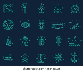 Summer, travel, pirate icons set