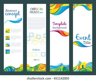 Summer travel - set of vertical banners, vector abstract template for web, print and other projects. Views of rio. Latin America landscapes