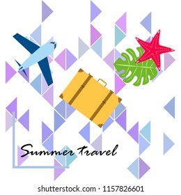 summer travel suitcase aircraft starfish tropical plant vector background