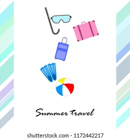 summer travel suitcase ball fins diving mask vector background