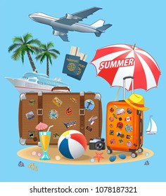 Summer Travel suitcase and beach parasols