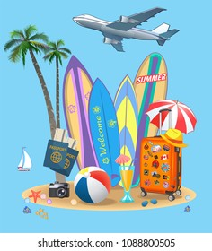 Summer Travel suitcase and beach parasols. Surfing