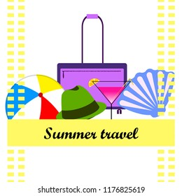 summer travel suitcase cocktail ball hat shell vector background