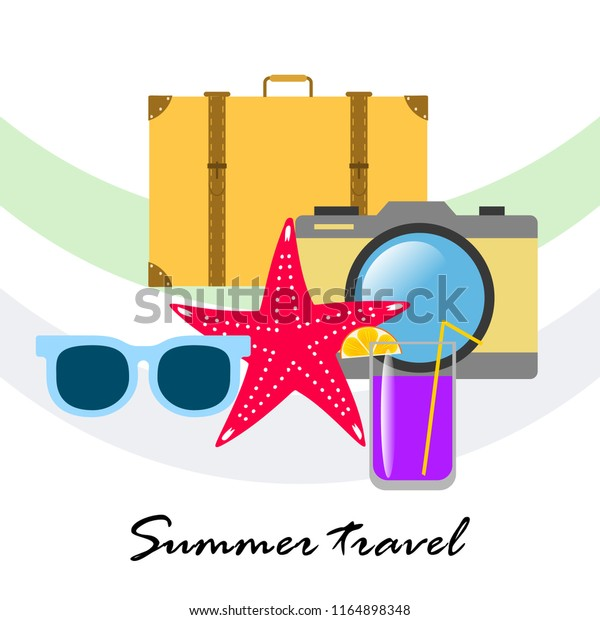 summer travel suitcase cocktail photo camera sunglasses starfish vector background