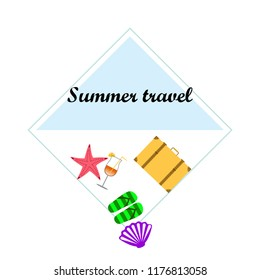 summer travel suitcase cocktail shell seashell star flip flops vector background