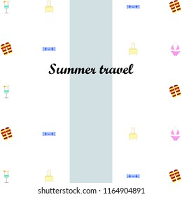 summer travel suitcase swimsuit flip flops cocktail vector background