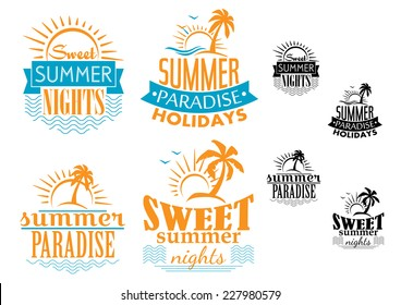 Summer, travel and vacation badges in blue and orange depicting the sea, palm trees and the sun, vector illustration
