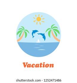 Summer travel vacation logo concept in circle shape. Sea resort, sea, boat, sun, and palm tree. Paradise beach color graphic sign. Vector abstract illustration.