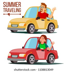 Summer Traveling By Car Vector. Male, Female. Girl And Boy In Summer Vacation. Driving Machine. Rides In The Car. Road Trip. Side View. Isolated Flat Cartoon Illustration