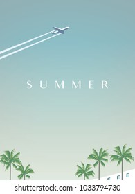 Summer traveling vector poster template with airplane flying over palm trees. Eps10 vector illustration.