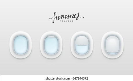 Summer travels design banners. Realistic portholes of airplane. White window aircraft vector illustration