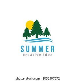 Summer Tree Logo Vector Icon Template
