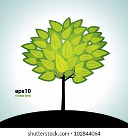 Summer tree, vector background