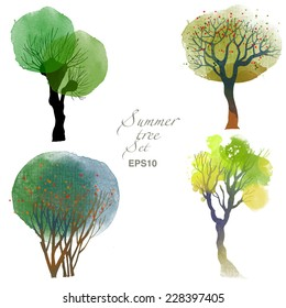 Summer trees. Watercolor vector set of trees