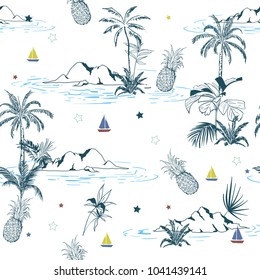Summer Trendy bright seamless colorful  island pattern on white background. Landscape with palm trees,beach and ocean vector hand drawn style.