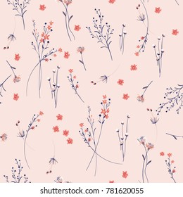 Summer Trendy  wild blowing  Floral pattern in the many kind of flowers. Wild botanical  Motifs scattered random. Seamless vector texture. For fashion prints.  in hand drawn style on  pink background.