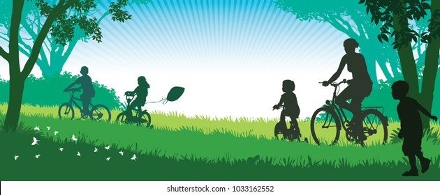 Summer trip. Illustration of a happy family cycling on a summer trip in the park.