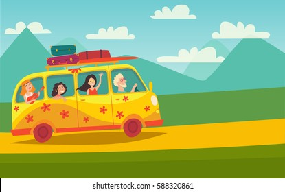 Summer trip vector illustration with space for your text. Happy people on vacation/summer holidays. CYellow bus trip to camp, tourism concept