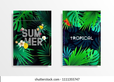 Summer tropical background design with exotic palm leaves and lettering. Summer placard poster invitation card flyer. Vector illustration.