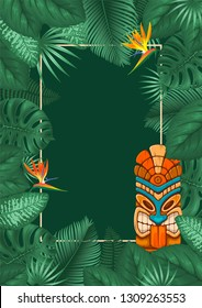 Summer tropical background design with frame for your text, tribal Tiki mask and exotic leaves and flowers. Vector illustration.