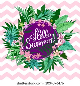 Summer tropical background with exotic palm leaves and plants. Vector floral background