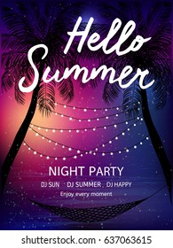 Summer tropical background  with palms, sky and sunset. Summer poster, flyer, invitation card. Summertime.