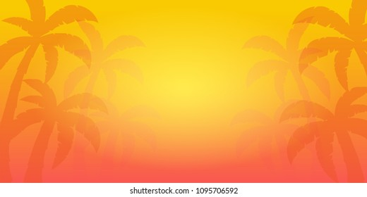 Summer tropical background with palms and sunset. Summer placard poster flyer invitation card. Summer time. Vector Illustration