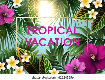 Summer Tropical Background  for Party or Wedding Invitation, Flyer or Travel Advertising. Exotic Plants, Flowers, Leaves ans Branches.