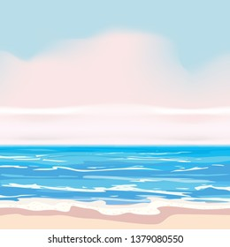 Summer tropical background template, shore waves surf sea, ocean. Trend style design. Vector isolated, poster, flyer, invitation, banner