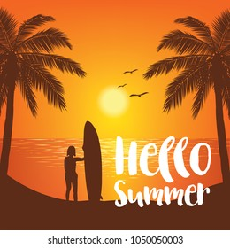 Summer tropical backgrounds with palms, sky and sunset. Summer placard poster flyer invitation card,Surfboad, Hello Summer