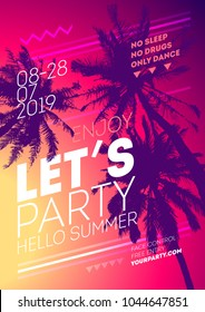 Summer tropical backgrounds for sunset party. Vacation Poster template flyer invitation card for your design