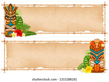 Summer tropical bamboo frame design with Tiki mask, exotic leaves and flowers. Vector illustration. Isolated on white background.