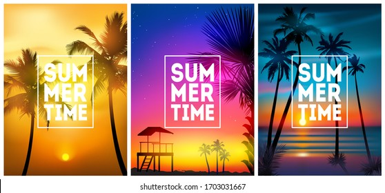 Summer tropical beach backgrounds set N4 with palms, sky sunrise and sunset. Summer placard poster flyer invitation card. Summertime