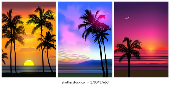 Summer tropical beach backgrounds set N4 with palms, sky sunrise and sunset. Summer party placard poster flyer invitation card. Summertime, vector illustration.