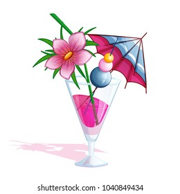 Summer tropical beach cocktail. A glass with a pink drink, a blue umbrella, pink tropical flower and skewer with multi-colored cherries. Holidays in Hawaii. Vector illustration.